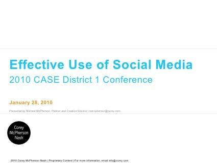 Effective Use of Social Media for Independent Schools by Corey McPherson Nash, via Slideshare