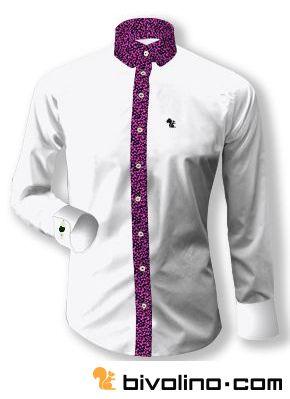 Bivolino hemd op maat voor mannen. Ontwerp uw overhemd op maat online. Wit overhemd met contrast op de knoopsluiting van Liberty flowers. Bivolino is shirtmaker sinds 1954.