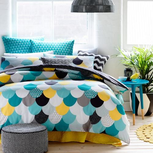 Colour, fun and design have come together in the funky Nolita bed linen from Home Republic. A mash of lotus leaf colours and geometric patterns on the front are contrast to a midnight sky of dark base cloth and starry night polka dot print.
