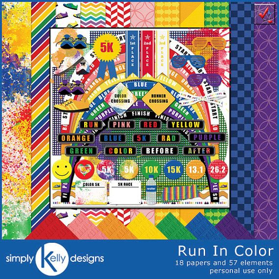 |Store| Simply Kelly Designs http://www.etsy.com/shop/SimplyKellyDesigns  |Description| The Run In Color Kit by Simply Kelly Designs is perfect for scrapbooking any type of color run or running race. Races such as the Color Run, Color Me Rad, Run or Dye, etc always yield really colorful photos. Now you can scrapbook those photos with this colorful kit. The kit is also for any type of running race with elements for 5K, 10K, 15K, half marathon and marathon.  |Contents| Cont...