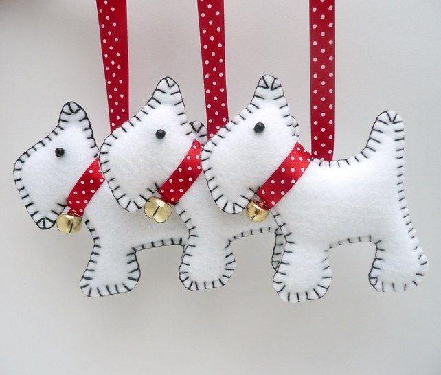 x3 Westie Dog Felt Christmas Decorations | Folksy