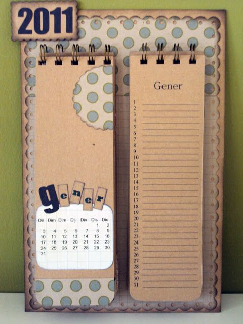 Fem scrap: Tutorial of a calendar for the fridge.  Even translated it is sketchy, but the photos help.  There is a slit in the back for each of the spiral calendars.