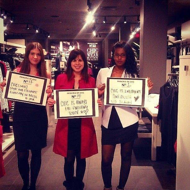 Other girls with their principles of chic at our St-Laurent store / D'autre conseillères avec leurs leçons de chic à notre boutique à St-Laurent www.jacob.ca