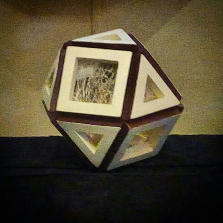 """FROM PAPER TO WOOD  Polyhedron # 11 - CUBOCTAHEDRON  Designed by Leo R. Natividad for Lights & Folds Handicraft Fabricated by Allan Aguinaldo  Using 3/4""""×3/4""""×4.5"""" Softwood 8 Triangles 6 Squares  14 Surfaces  12 Apexes  24 Edges  Circumference - 30"""" (76.2 cm) Diameter - 9.5"""" (24.13 cm)  Price - Php 3,517.50  #from_paper_to_wood #only_in_the_world #origamipilipinas #lights_and_folds_handicraft #only_in_the_Philippines #origami_inspired_wooden_polyhedron"""