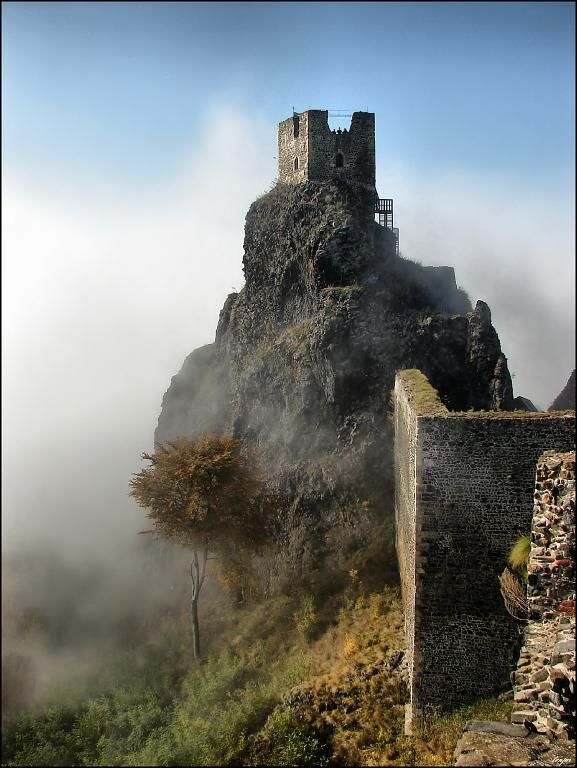 "The tower ""Panna"" (Virgin) of Trosky castle in ""Bohemian Paradise"", Czechia"