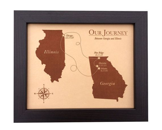 Leather Anniversary Gift  laser engraved map  by JWdesignStudio