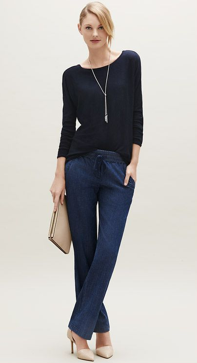 Add nude heels and a clutch and these chambray pants are made for dinner with friends l Ann Taylor