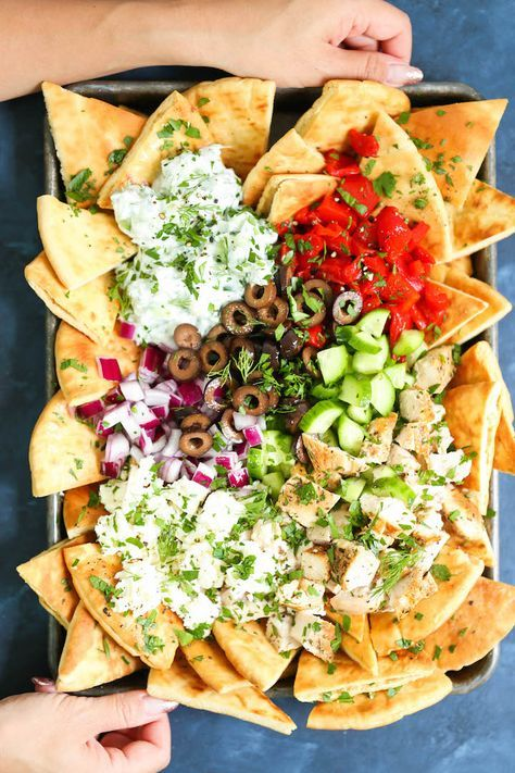 Sheet Pan Greek Nachos - The BEST Greek nachos ever!!!! With homemade pita chips, of course. And it's all on one single sheet pan. MINIMAL CLEAN UP! YES!!!!