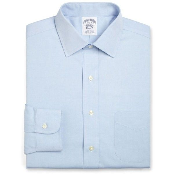 Brooks Brothers  Blue Label Slim Fit Non-Iron Dress Shirt ($92) ❤ liked on Polyvore featuring men's fashion, men's clothing, men's shirts, men's dress shirts, blue, brooks brothers men's dress shirts, mens slim fit shirts, brooks brothers mens shirts, mens blue shirt and men's non iron dress shirts