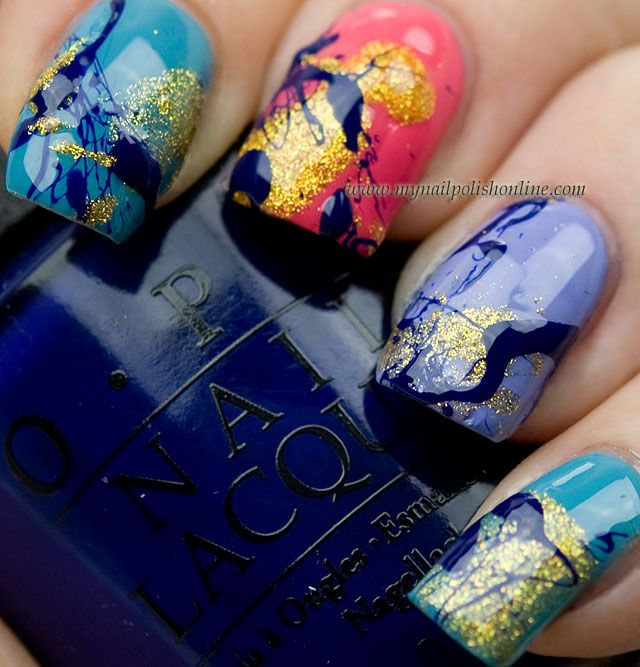 splatter nail art using OPI Euro Centrale collection