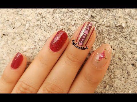 Tribal nail art tutorial byLovebird  #tribailnails #rednails #nailtutorial #nailarttutorial #nailartvideo #rednailart