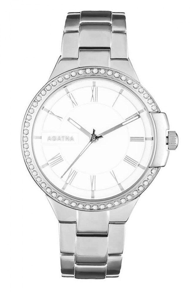 La montre casual et strass signée Agatha couleur argent.
