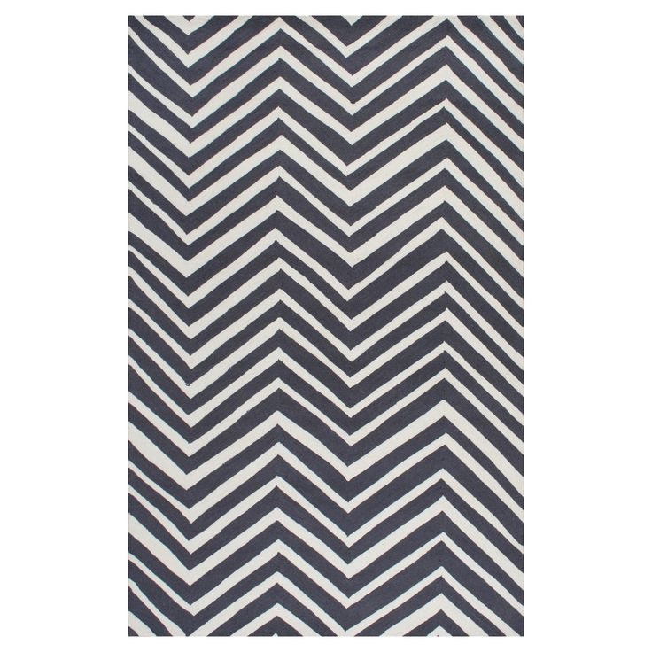 """nuLOOM 100% Wool Hand Hooked Chevron Accent Rug - Black (3' 6"""" x 5' 6"""")"""
