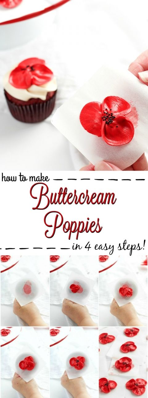 How to Make Buttercream Poppy Flowers in 4 Easy Steps | The Bearfoot Baker