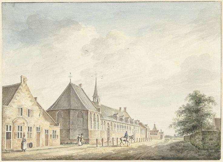 Het Jobs-gasthuis te Utrecht, Jacobus Versteegen (1735-1795). Opschrift: Jobs Gasthuis te Utrecht / Jb:Versteegh / ad. viv. deln. Het gasthuis werd gesticht voor de verpleging van melaatsen en andere zieken die wegens kans op besmetting niet in de stad mochten komen.