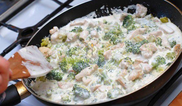 Gjellë me brokoli, kërpudha dhe mish pule