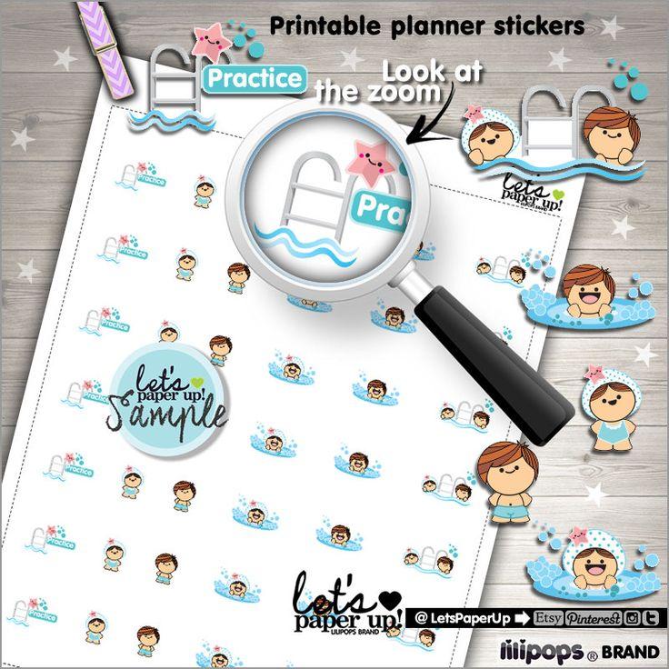 Swimming Stickers, Printable Planner Stickers, Swim Practice, Pool, Erin Condren, Kawaii Stickers, Printable Stickers, Planner Accessories