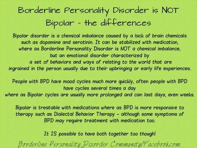 Bipolar Disorder vs. Borderline Personality Disorder. A lot of people seem to get confused when it's abbreviated...