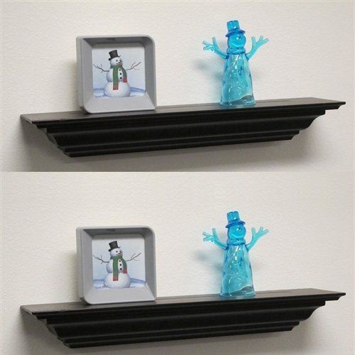 Set of (2) Welland 24 Inch x 3.25 Inch x 5.25 Inch Corona Crown Molding Wall Shelf Mantel Fireplace Ledge Black by Welland. $38.00. Secure and rugged wall mount, it includes Mounting Hardware. Set of (2) Corona Crown Molding Wall Shelf-24 inch Color: Black. elegantly curved lines. Goes with most all decor. Perfect for Displaying Favorite Treasures. Crown molding shelf, also call mantel ledge, is made from MDF. The crown molding shelf is finely routed and sanded with ele...