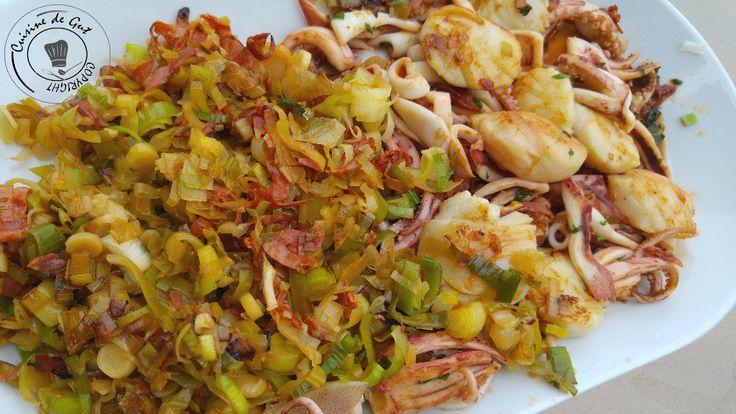 Plancha de fruits de mer aux poireaux et chorizo