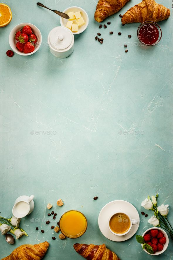 continental breakfast on blue background captured from