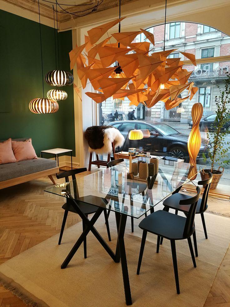 Kreative Lampe aus Holz / nordisches Design, grün, Holz, Design
