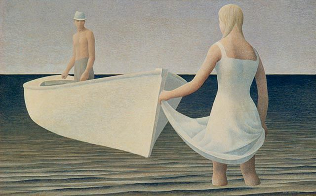 Alex Colville. Woman, Man, and Boat, 1952 tempera by lilikk, via Flickr