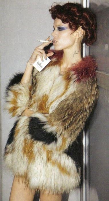 Freja Beha Erichsen in an Isabel Marant Faux Fur