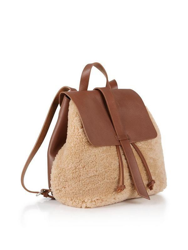 JIGSAW Blake Shearling Backpack - Natural | veryexclusive.co.uk