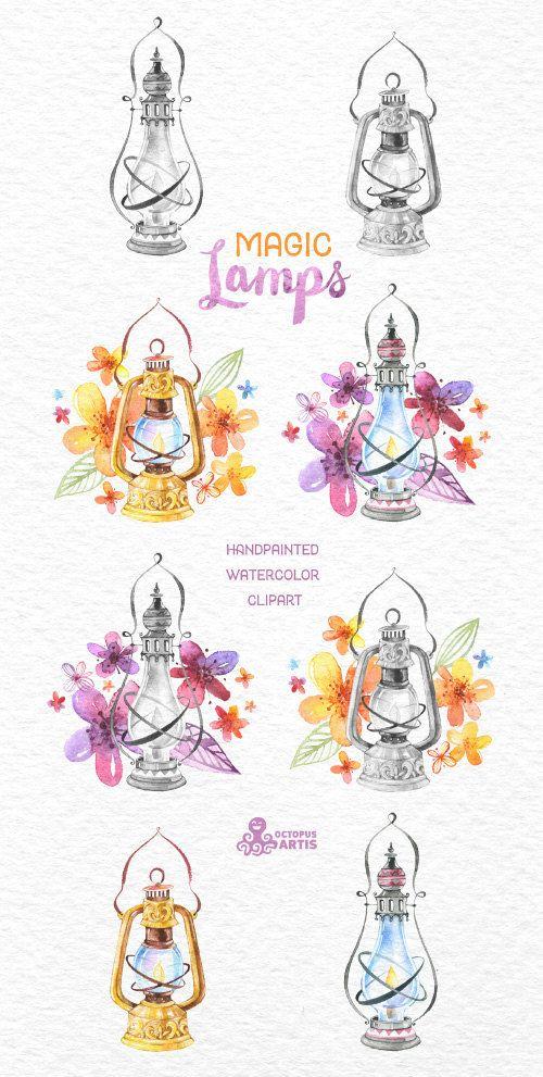 Lámparas mágicas. Imágenes Prediseñadas de por OctopusArtis en Etsy