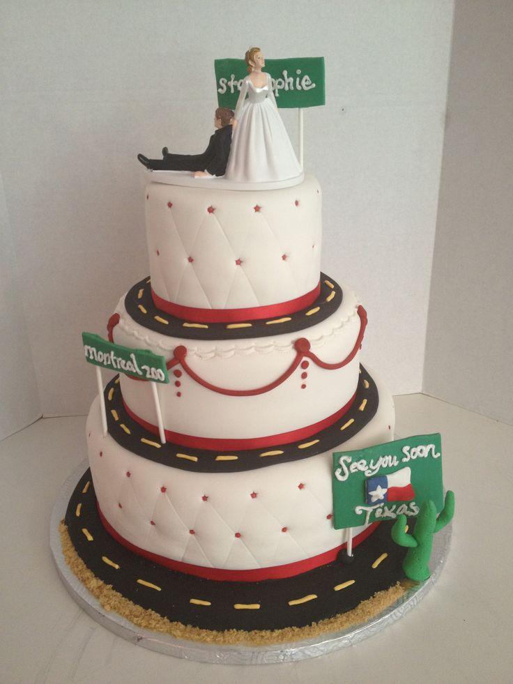 un gâteau original pour un couple de camionneurs. L'histoire de leur rencontre est  intégrée à leur gateau :)