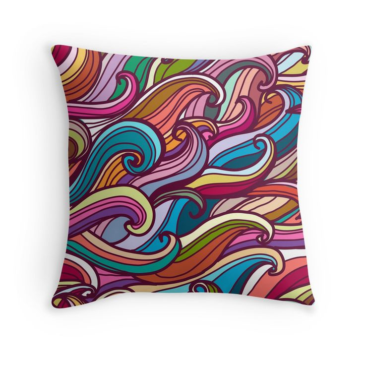 """""""Colorful seamless abstract waves hand-drawn pattern"""" Throw Pillows by smotrivnebo   Redbubble"""
