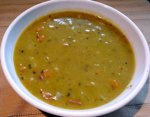 Split pea and ham soup in pressure cooker.