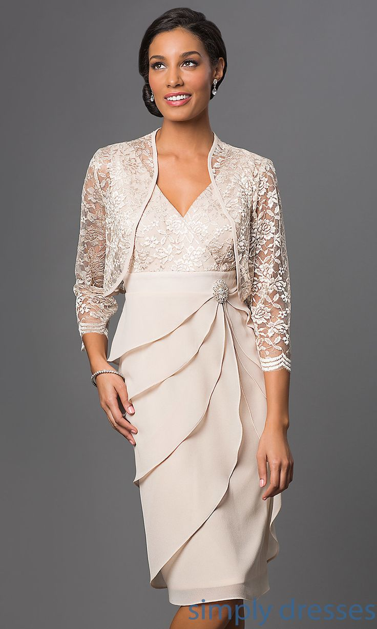 Shop knee-length mother-of-the-bride dresses and plus-size dresses at Simply Dresses. Short bridesmaid dresses with matching lace bolero jackets.