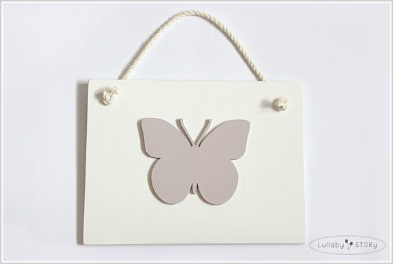 Wooden hand painted picture with butterfly  Kids by LullabySTORY