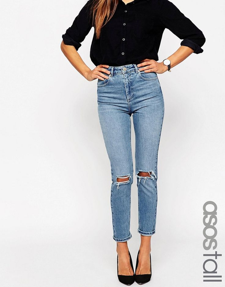 Image 1 ofASOS TALL Farleigh Slim Mom Jeans In Prince Light Wash With Busted Knees
