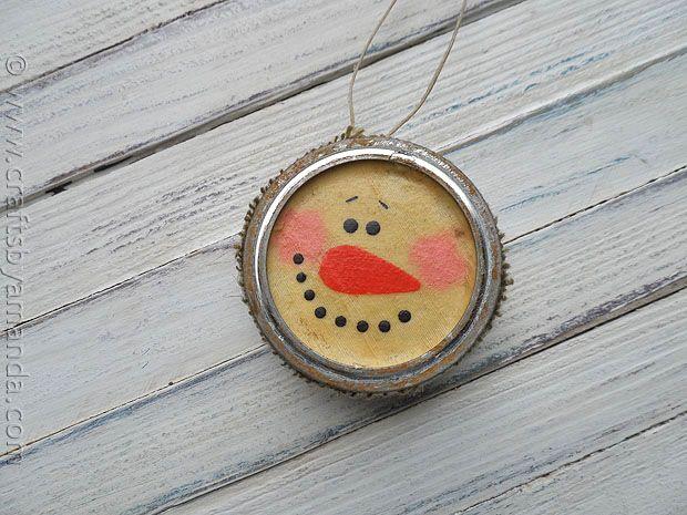 Antiqued Canning Lid Snowman - CraftsbyAmanda.com