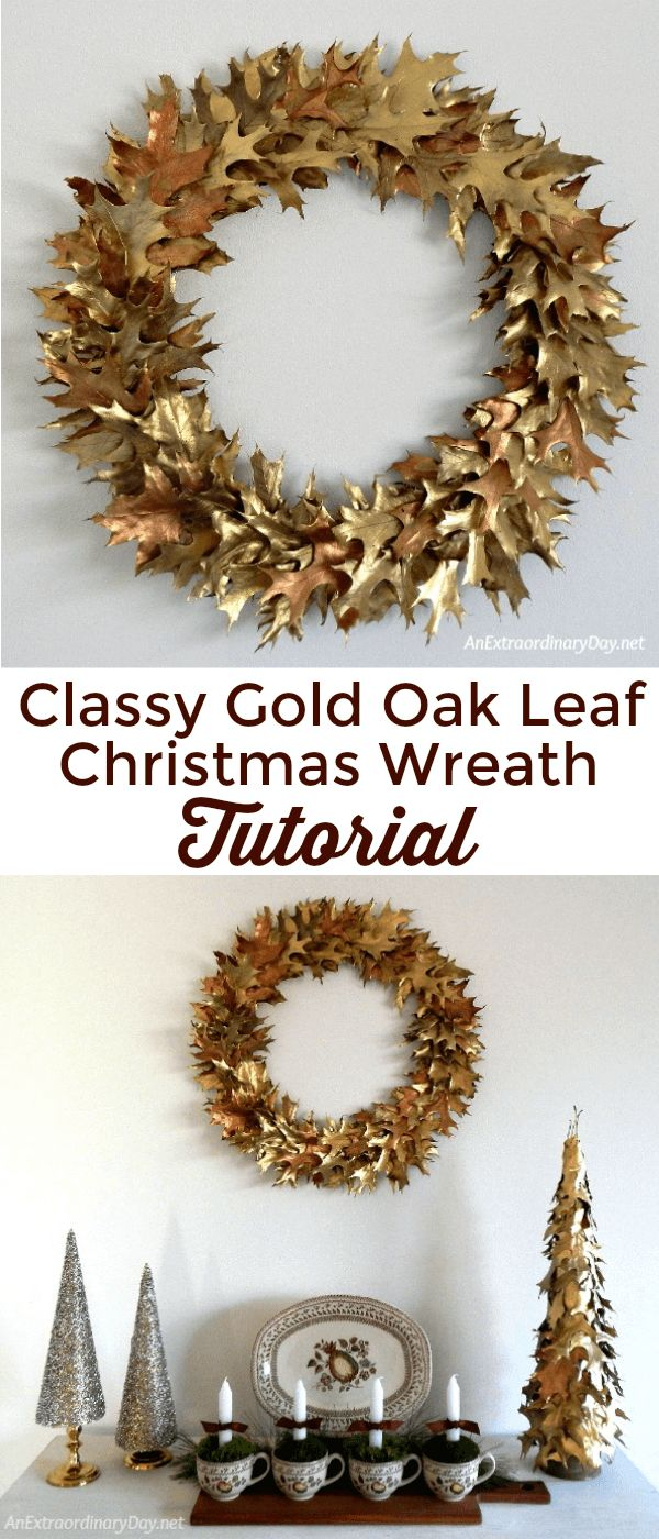 Here's the perfect Christmas decoration. Learn how to make this gorgeous gold oak leaf wreath with this easy tutorial >>>