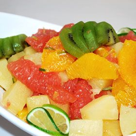 Fruit Salad with Lime Cilantro Dressing, a recipe from ATCO Blue Flame Kitchen's Holiday Collection 1999 cookbook.