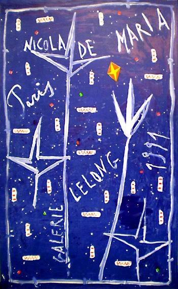 NICOLA DE MARIA rare exhibition poster from 1991 Litho