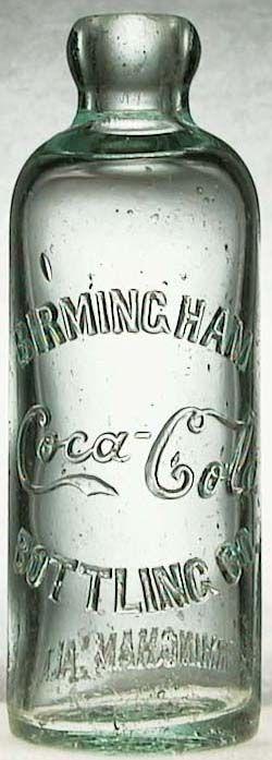 """1899 nette amélioration de la bouteille avec les inscriptions avant :""""BIRMINGHAM COCA-COLA BOTTLING CO""""  et arrière """"BIRMINGHAM ALA. ROOT 405"""""""