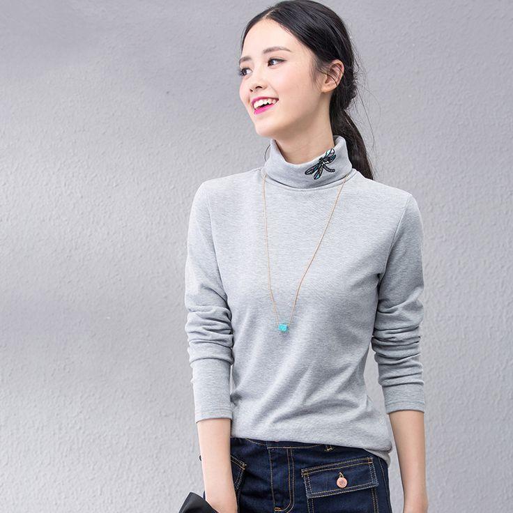 Fashion Autumn Winter Spring Women T-shirt Turtleneck Long Sleeve Dragonfly Embroidery T Shirt Female Underwear Tops Tee JA2316
