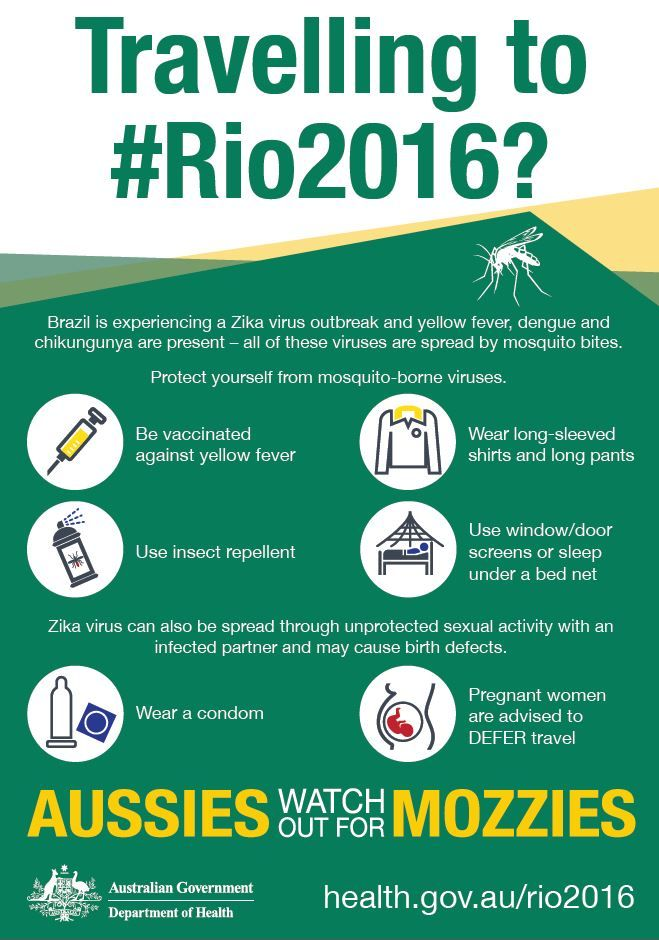 Brazil is experiencing a Zika virus outbreak and yellow fever, dengue and chikungunya are present - all of these viruses are spread by mosquito bites. Protect yourself from mosquito bites. For more information visit http://www.health.gov.au/rio2016
