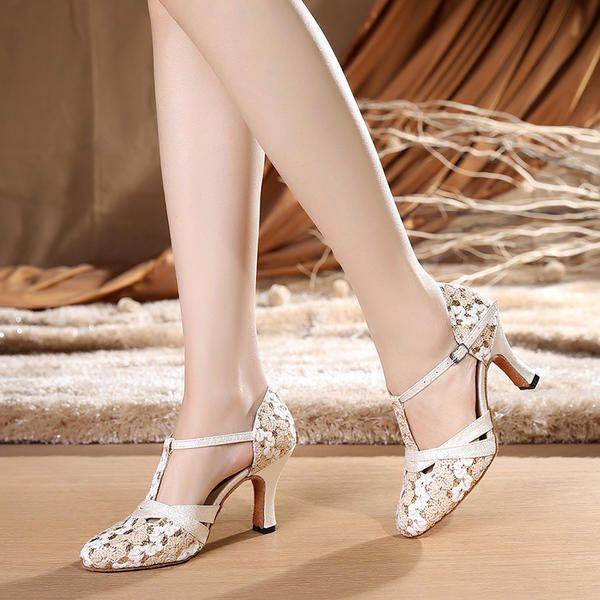 Dla Kobiet Tkanina Obcasy Sala Balowa Swing Z Pasek W Ksztalcie Litery T Buty Do Tanca Dance Shoes Ballroom Dance Shoes Shoes