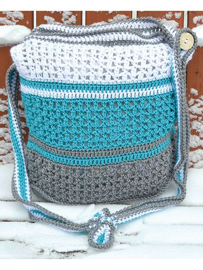 Kathy Cross Over Bag ~ nice-looking, sturdy bag ~ use as beach bag, market bag, diaper bag anything-you-want bag ~ easy level ~ written instructions only ~ CROCHET