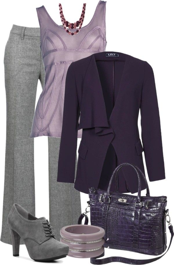 """Purple & Grey"" by danyellefl01 on Polyvore...not sure about the shirt for my chest but love the color combo!"
