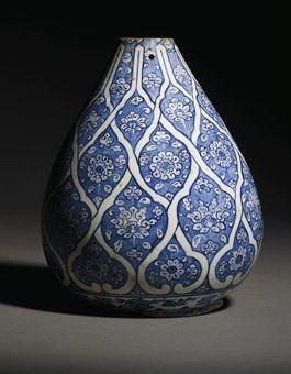 An Iznik Blue and White Pottery Bottle Vase, Ottoman Turkey, Circa 1510