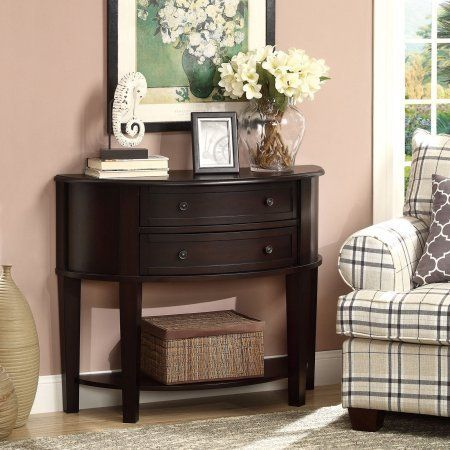 2 Drawer Semicircle Console Table, Bottom Storage Shelf, Display Surface,  Transitional Style, Practical Furniture, Living Room, Entryway, Hallway, ...