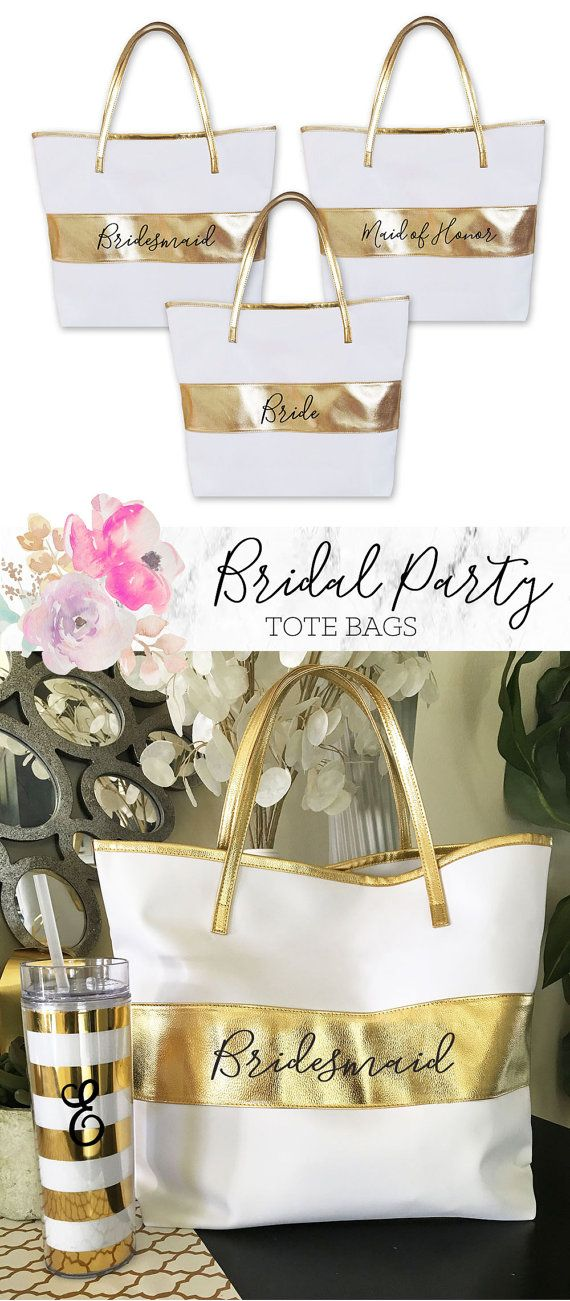 Great gift for the bride and her bridesmaids to use on the bachelorette weekend getaway or even for the wedding day traveling! After the wedding, bridal party members can either continue to use these gorgeous bags or store their wedding day keepsakes within. | Etsy: ModParty | Product Number: EB3175BPW