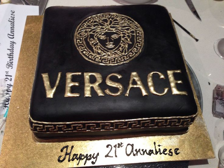 Versace black gold chocolate mud 21st birthday cake